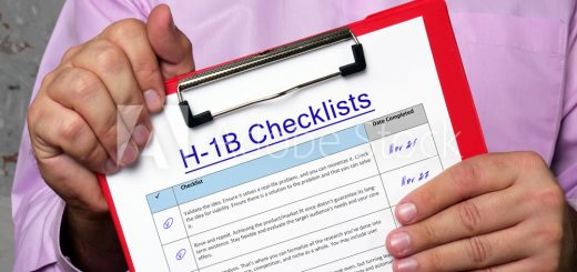 H-1B Checklists phrase on the piece of paper.