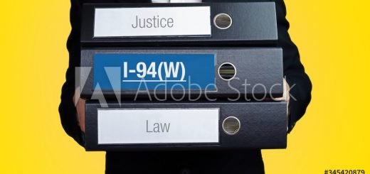 I-94(W) – Lawyer carries a stack of 3 file folders. One folder has the label I-94(W). Symbol for law, justice, judgement